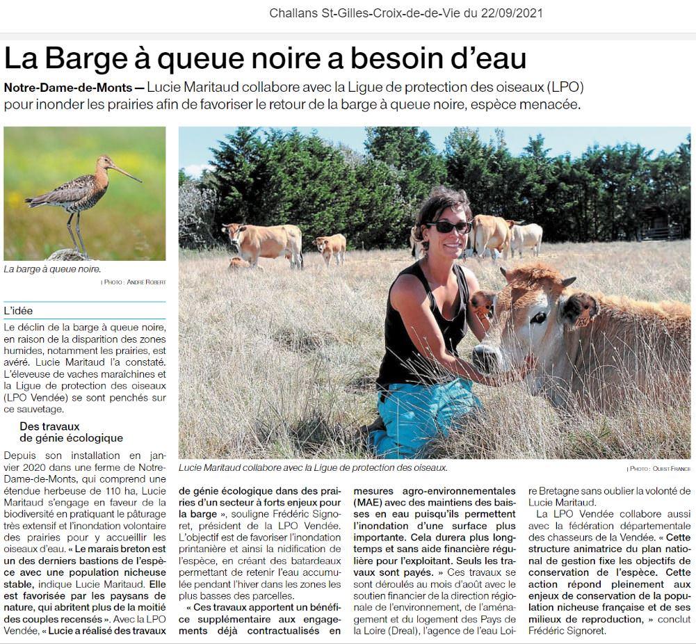 Extrait de l'article Ouest France du 22/09/2021 sur les travaux réalisés à la ferme de l'Avocette rieuse