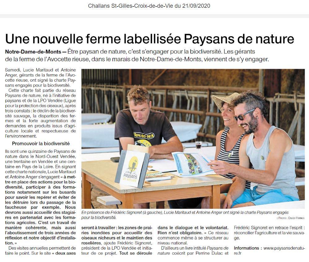 Extrait de l'article Ouest France du 21/09/2020 sur la ferme de l'Avocette rieuse