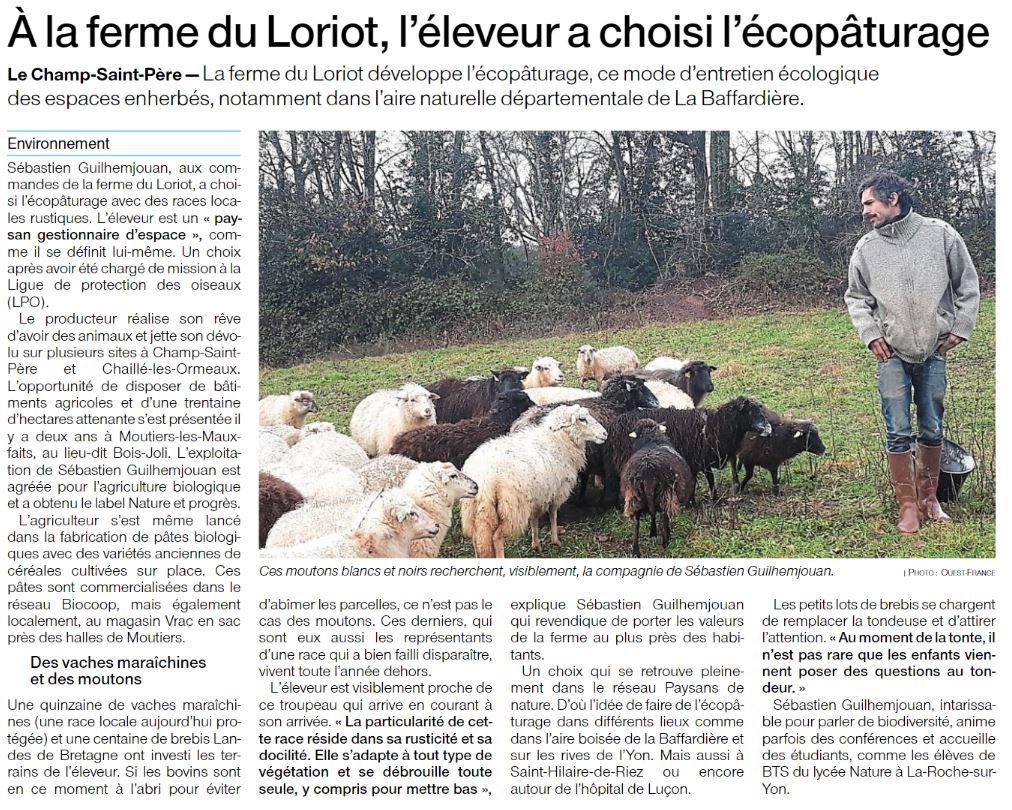 Article Ouest France Ferme du Loriot