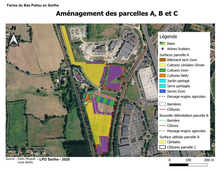Carte des aménagements Ferme du Bas Pallau © LPO Sarthe