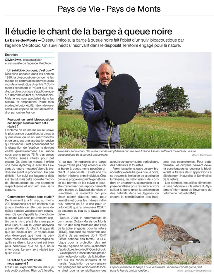 Article Ouest France 13/05/215